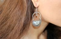 Love mirror plain sterling silver earrings