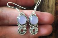 Rose Quartz 925 Sterling Silver Earrings