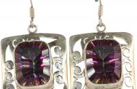 Thousand colors sterling silver earrings with rainbow topaz semi precious stones