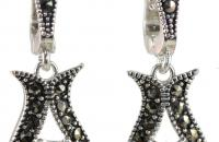 Mermaid sterling silver earrings with zircon with marcasite semi precious stone
