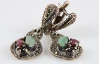 infinity sterling silver earrings with emerald, ruby, sapphire semi precious stones and marcasite