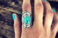 Garden sterling silver ring with turquoise semi precious stone