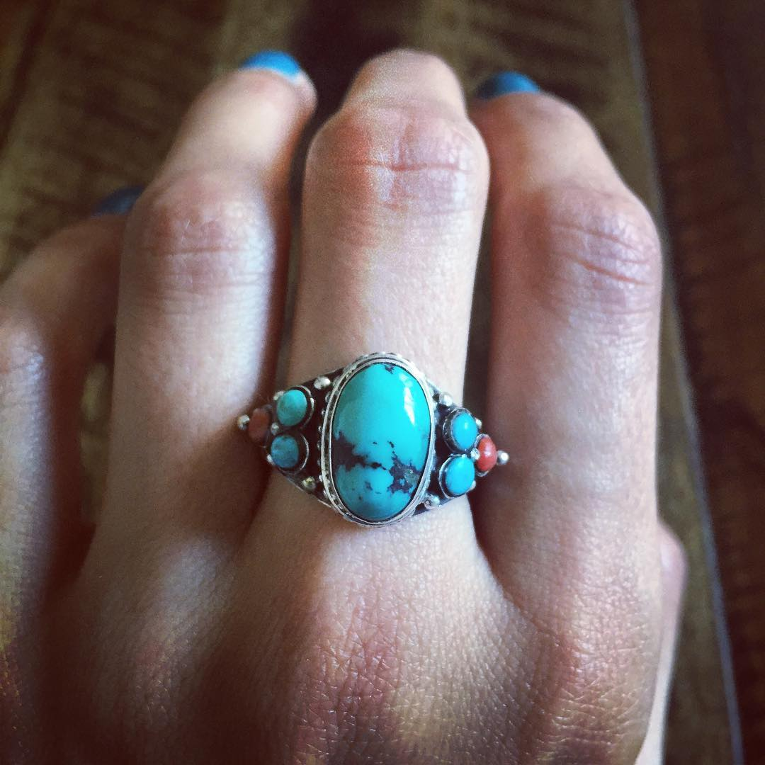 925 Sterling Silver Ring with Coral Stones
